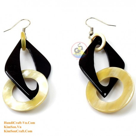 Organic Cow Horn - Black and White - Earring