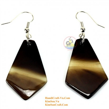 Organic Cow Horn - Black and White - Earrings