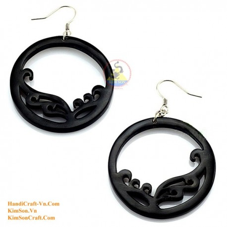 Organic Cow Horn - Black Earrings