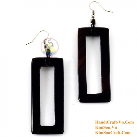 Organic Cow Horn - Rectangular - Black - Earrings