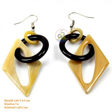 Organic Cow Horn - White and Black- Earrings
