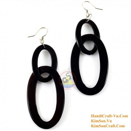Organic Cow Horn - Black - Earrings